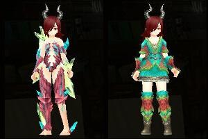 アルコ三色染め魔結晶の鎧と緑竜の衣